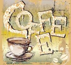 咖啡背景 墨迹背景图片