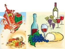 水果与酒矢量素材