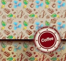 咖啡绿叶鲜花背景图片