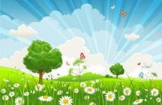 蓝天白云草地鲜花蝴蝶 春天背景图片