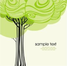 矢量绿树背景模板素材