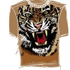 短袖T恤老虎头像