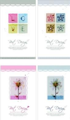方块花朵背景图片