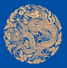 蓝底金色中国龙素材
