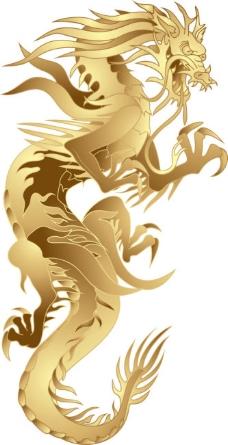 金色矢量中国龙