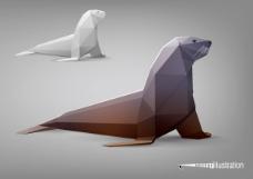 海狮纸模模型矢量素材