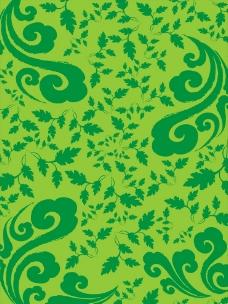 祥云 叶子 绿色底纹图案图片