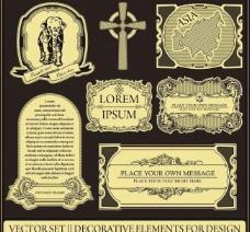 古典花纹 边框 标签图片