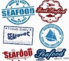 海鲜标签徽章图片
