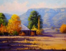 油画 农场木屋图片