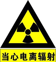 当心电离辐射图片
