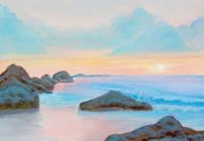 油画 落日海景图片