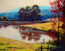 油画 湖景图片