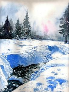 油画 冬景图片