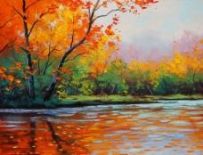 油畫 河畔秋色圖片