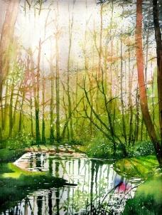 油画 林间溪流图片