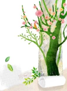 卡通大树背景图片