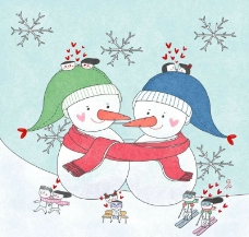 甜蜜雪人图片