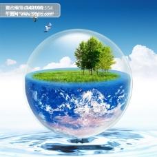 圆点 汽泡 蓝天白云 树木 草地 水 小鸟 地球
