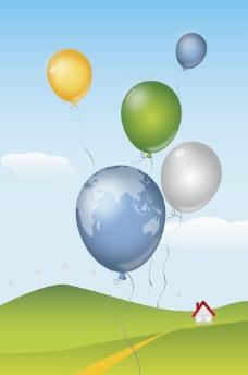 草原热气球背景图片