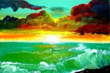 油画 海洋落日图片