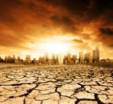 干涸大地 城市楼群图片