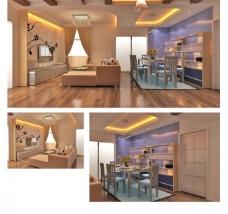 家装 客厅及餐厅效果图图片