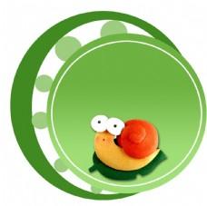 蜗牛 绿色 卡通背景
