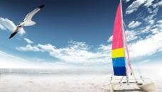 创意海滩背景素材图片