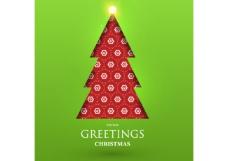 矢量红色卡通圣诞树背景