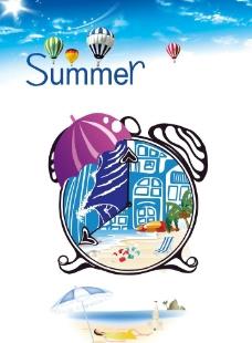 夏季海滩休闲海报图片