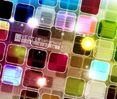 矢量素材炫丽彩色方块背景