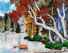河畔秋色图片