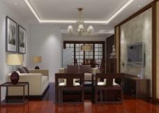 有点中式的客厅图片