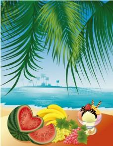 各种水果与海滩风景矢量素材