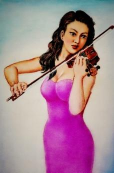 拉小提琴的少女图片