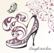 矢量精美手绘高跟鞋花纹