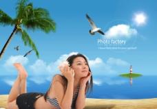 海滩美女图片