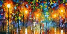 油画 雨夜图片