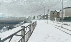 雪景 桥图片