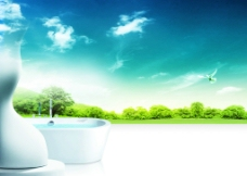 花园浴室海报图片
