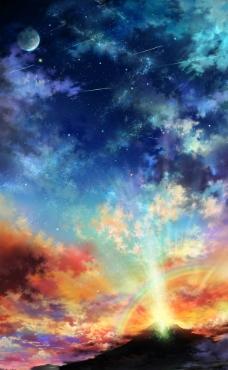 夕阳 星空图片