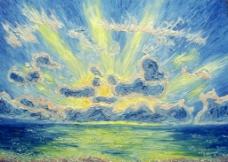 油画 穿透云层的光线图片