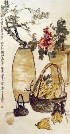 吴昌硕 瓶梅篓蔬图片