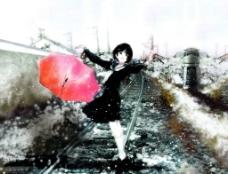 水彩风清新雪下的少女图片