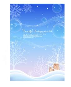 矢量冬季雪天树木风景