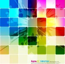 炫彩方格矢量图