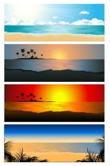 美丽海边风景矢量素材