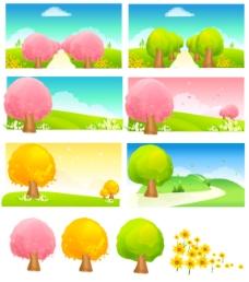 四季可爱风景矢量素材