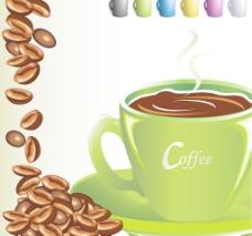 咖啡豆与咖啡杯图片